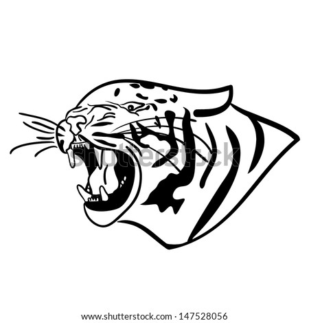 angry tiger outline vector - stock vector