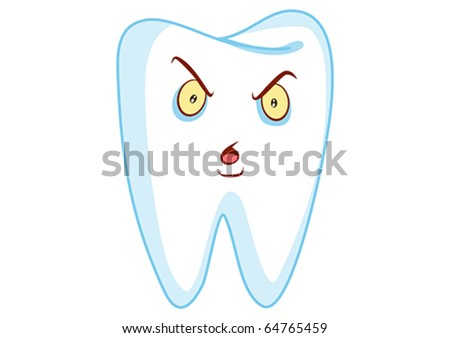Angry Tooth Cartoon Character Illustration in Vector - stock vector