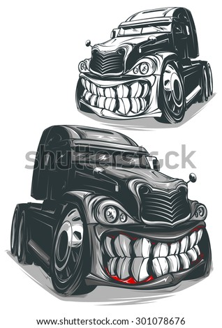 Angry truck - stock vector