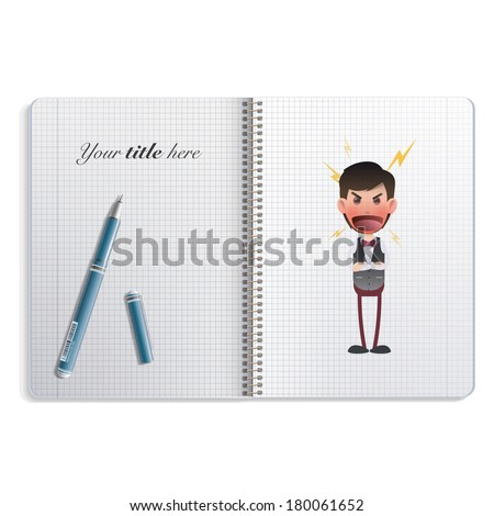 Angry waiter printed in notebook. Vector design
