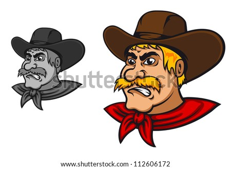 Angry western cowboy mascot in cartoon style, such a mascot. Jpeg version also available in gallery