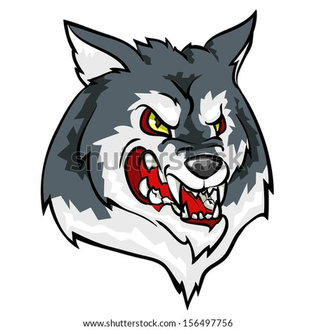 Angry Wolf mascot - stock vector