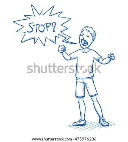 Angry young boy yelling stop with speech bubble. Hand drawn cartoon doodle vector illustration.