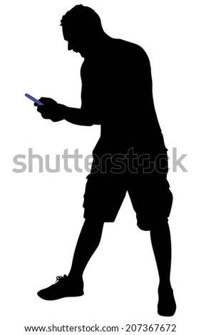 Angry young man shouting using a cellphone, vector  - stock vector