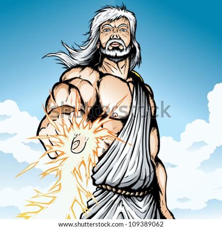Angry Zeus - stock vector
