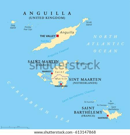 Anguilla Saint Martin Saint Barthelemy Political Stock Vector