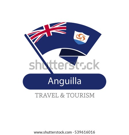 Anguilla The Travel Destination logo - Vector travel company logo design - Country Flag Travel and Tourism concept t shirt graphics - vector illustration