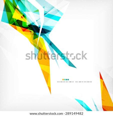 Angular geometric color shapes, abstract background, flyer or brochure template - stock vector
