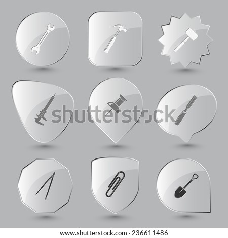 Angularly set. Vector glass buttons. - stock vector