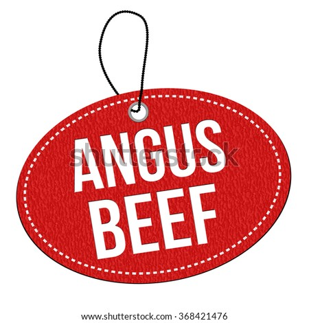 Angus beef red leather label or price tag on white background, vector illustration - stock vector