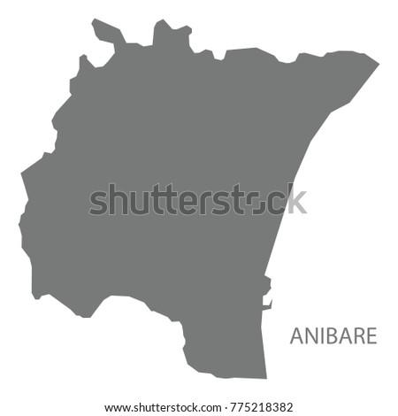 Anibare Map Nauru Grey Illustration Silhouette Stock Vector - Nauru map vector