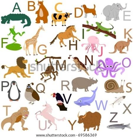 Animal alphabet - stock vector