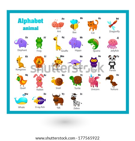 Animal alphabet letter A-Z - stock vector
