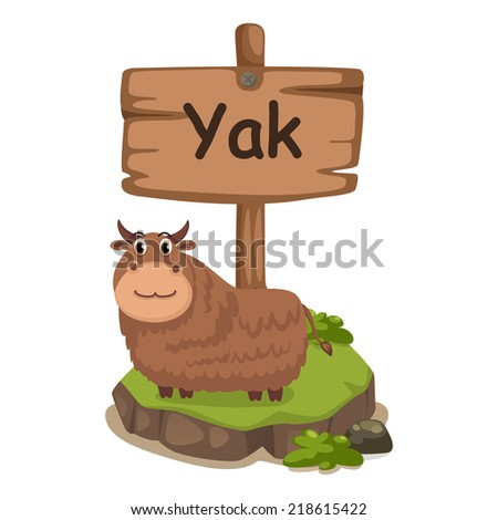 animal alphabet letter Y for yak illustration vector - stock vector