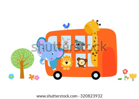 animal bus - stock vector