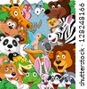 Animal cartoon background - stock