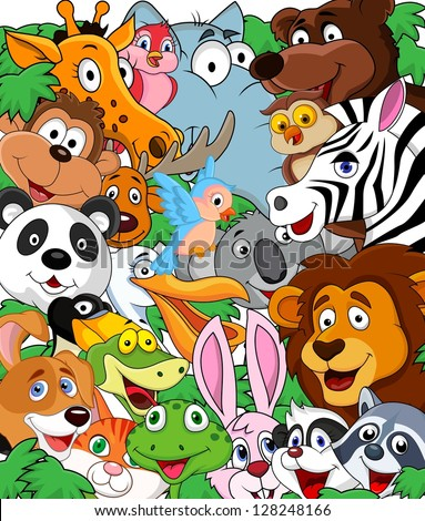 Animal cartoon background - stock vector