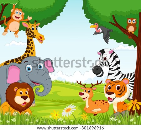 Animal cartoon in the jungle - stock vector