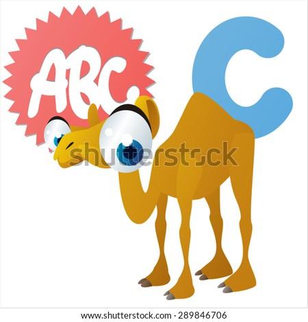 animal children alphabet: C is for Camel - stock vector