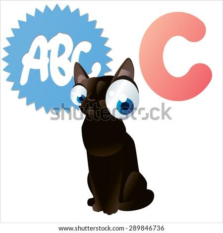 animal children alphabet: C is for Cat - stock vector