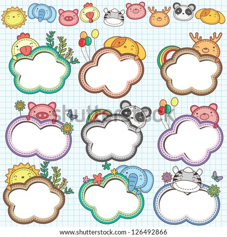 Animal Cloud Frames Set 2 (More animal frames are available) - stock vector