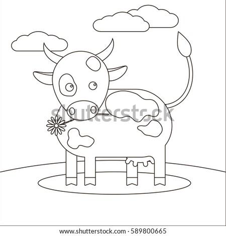 Animal Cow Coloring Book Children Cow Stock Vector 589800665 ...