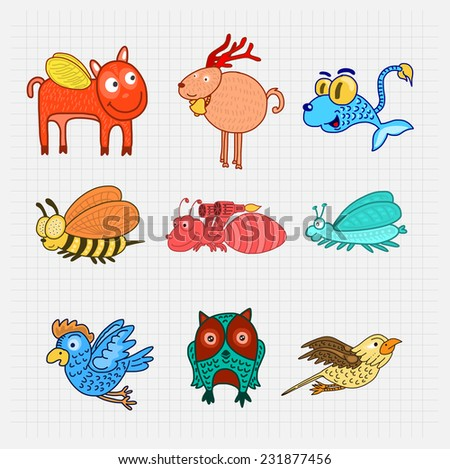 Animal creature Collection Vector. - stock vector