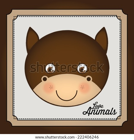 Animal design over brown background, vector illustration - stock vector