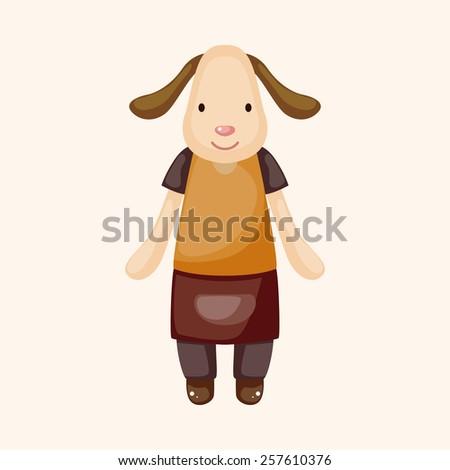 animal dog waiter cartoon theme elements - stock vector