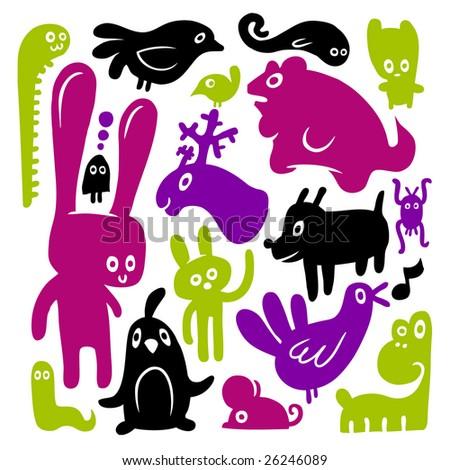 Animal doodles. Vector illustration. - stock vector