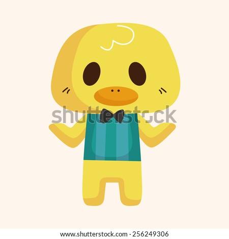 animal duck waiter cartoon theme elements - stock vector