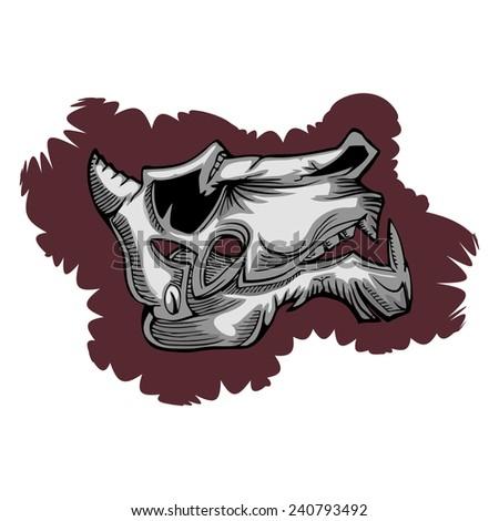 animal evil skull hand draw isolated on white - stock vector