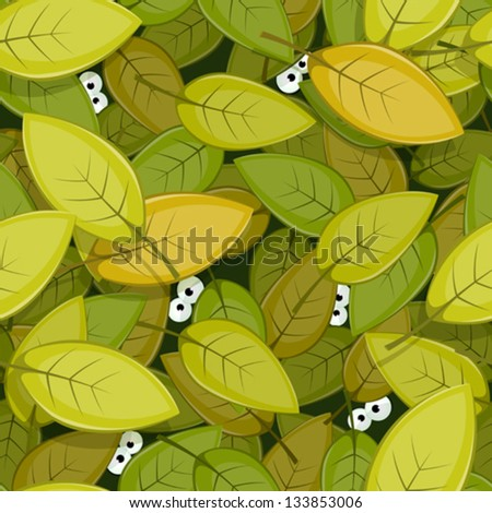Animal Eyes Inside Green Leaves Seamless Background/ Illustration of a seamless green leaves background with funny cartoon creatures animal eyes staring for nature forest wallpaper - stock vector