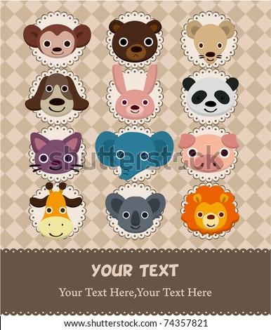 animal face card - stock vector