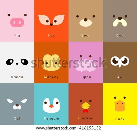 Animal face set - stock vector