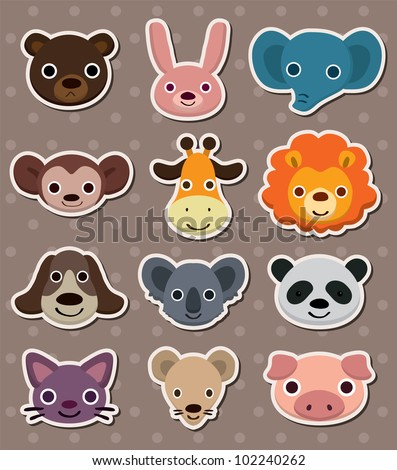 animal face stickers - stock vector
