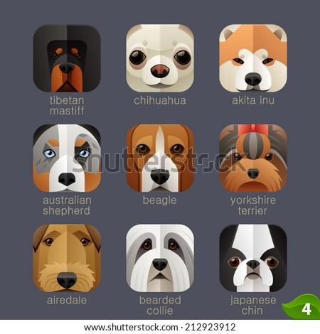 Animal faces for app icons-dogs set 3 - stock vector