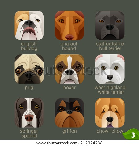 Animal faces for app icons-dogs set 2 - stock vector