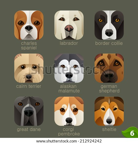 Animal faces for app icons-dogs set 5 - stock vector