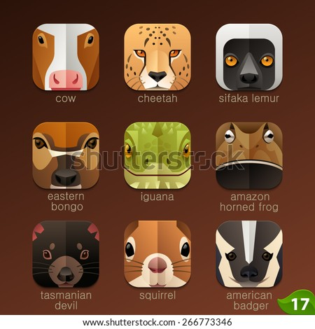 Animal faces for app icons-set 17 - stock vector