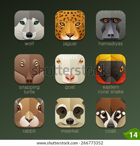 Animal faces for app icons-set 14 - stock vector