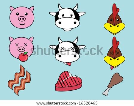 Animal Food Vector Illustrations - stock vector