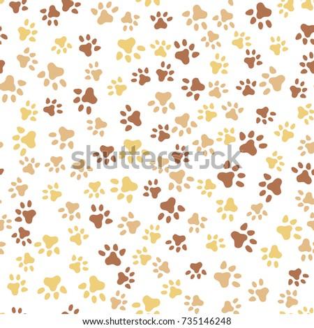 Animal Foot Print Cat Dog Seamless Stock Photo Vector