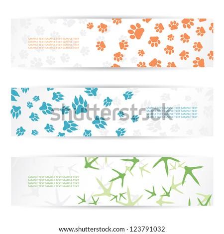 Animal footprint banners - vector illustration - stock vector