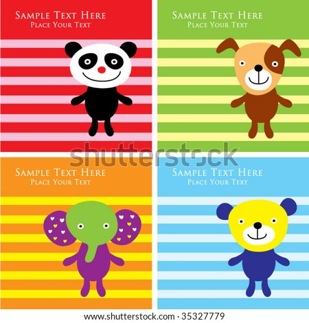 animal greeting collection - stock vector