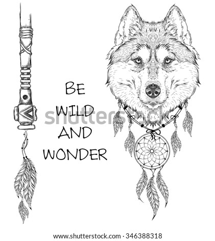 Animal hand drawn illustration wolf indian stock vector 346388318 animal hand drawn illustration wolf indian warrior native american poster hand draw vector ccuart Images