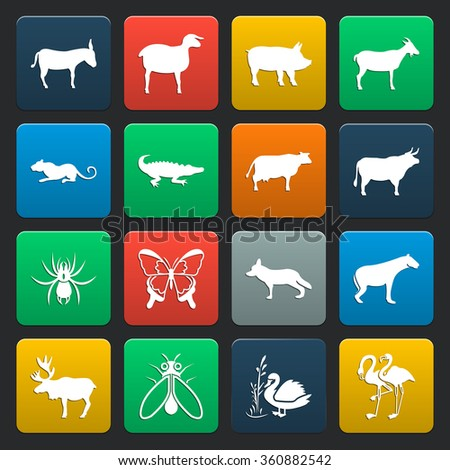 Animal icons set.  - stock vector
