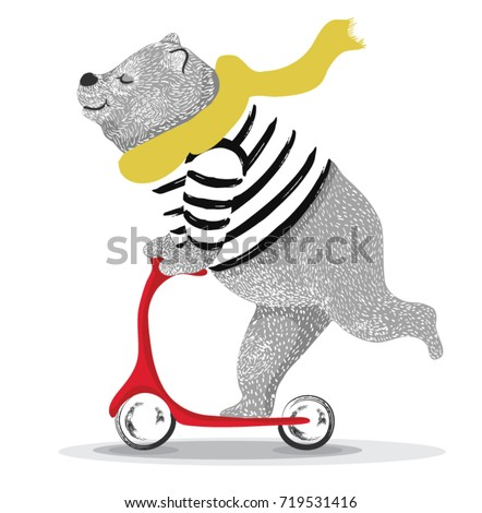animal illustration / bear cycle / Circus show illustration.Performance of the bear on bike/Hand drawn Illustration. Racer big bear/ T-shirt graphics / cute cartoon characters. bear book illustrations