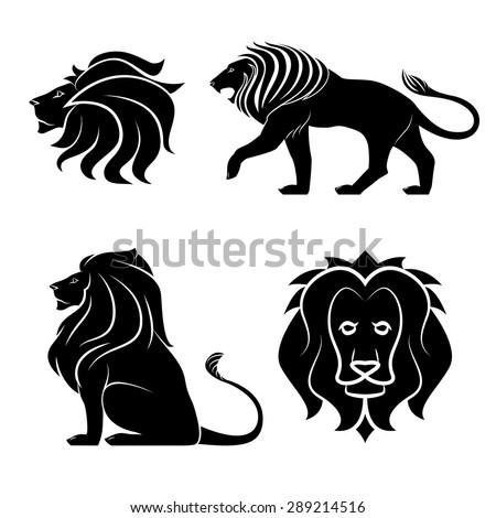 animal lion logo set - stock vector