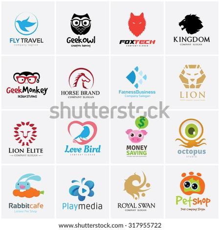 Animal logo collection,Bird Logo,Eagle logo,Owl logo,fox logo,lion logo,monkey logo,horse logo,fish logo,pet shop logo,octopus,pig,money logo,rabbit logo,butterfly logo,pet logo,Vector logo template - stock vector